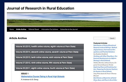 Journal Research in Rural Education